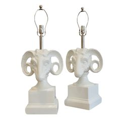 Pair Ceramic Rams Head  Table Lamps by DANA JOHN