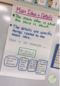 Like the idea of using your school! Main idea and details anchor chart {from Prepping for the Primary Gridiron} Anchor Charts First Grade, Ela Anchor Charts, Reading Anchor Charts, Guided Reading, Teaching Reading, Reading Art, Learning, Teaching Grammar, Teaching Main Idea