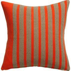 "division red orange 20"" pillow   CB2"