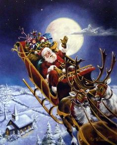 "Santa and his reindeer making Christmas Eve Deliveries Signed and Numbered Comes with Certificate Image Size 16""W x 20""H"