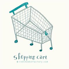 Shopping Cart illustration by Nelleke verhoeff Red Cheeks Factory Shoping Cart, Red Cheeks, Great Artists, Teaching Resources, Holland, Sketching, Organic, Mood, Shopping