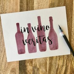 "Painted with REAL wine ""In vino veritas"", which is Latin for ""In wine, truth"". I used cabernet sauvignon for this one! Click through to see more details."
