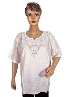 Womens Boho Tunic Kurti White Yellow Embroidered Cotton Top Blouse X-large Size Mogul Interior. $14.99