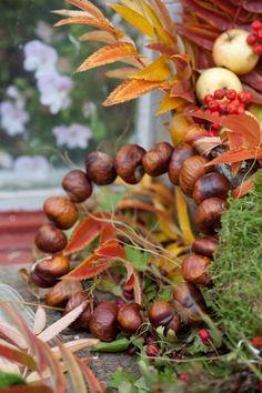 Kranz aus Kastanien für Herbst Deko