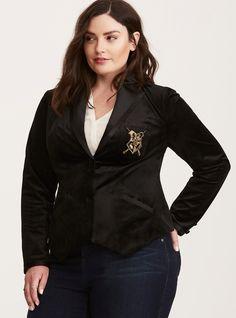 Harry Potter Hogwarts Velvet Blazer in Black Harry Potter Outfits, Harry Potter Hogwarts, Hogwarts Crest, Slytherin, Dressy Jackets, Plus Size Blazer, Fancy Tops, Plus Size Cardigans, Velvet Blazer