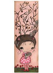 (the poppy tree) Tags: wood pink red tree cute art nature girl leaves painting squirrel squirrels critter nuts canvas acorn poppy poppies whimsical thepoppytree