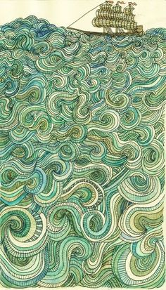 Sail Away ~ artist Amelia Langford; Moleskin sketchbook, Prismacolor, pen, watercolor