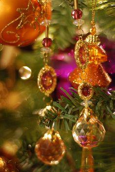 Christmas Tree - purple & gold teardrop jewelry