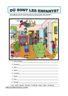 It's a worksheet to practise prepositions of place. French Flashcards, French Worksheets, French Teaching Resources, Teaching French, French Prepositions, Where Are The Children, Body Preschool, Material Didático, Core French
