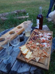 Michigan Wine and Cheese by a Bonfire