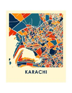 Karachi Map Print Full Color Map Poster by iLikeMaps on Etsy