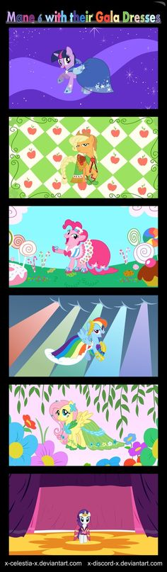 The 6 primary ponies' gala dresses that Rarity (bottom) designed and created for her friends