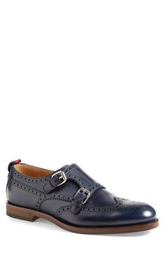 Gucci Double Monk Strap Wingtip Shoe (Men) at Nordstrom.com. Rich, midnight-blue leather adds elegance to a bold double monk shoe with classic wingtip detailing.