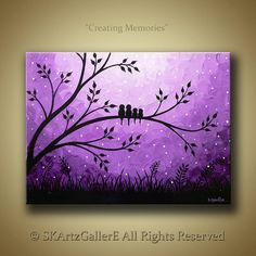 Family of birds on tree Landscape original Acrylic Painting- Home wall decor Artwork - Purple Modern Contemporary Abstract Canvas Art by SKArtzGallerE-- this is so cute! But for my house I would make it a family of opossums hanging from the tree :) Diy Canvas, Canvas Art, Abstract Canvas, Tree Canvas, Acrylic Canvas, Canvas Ideas, Art Diy, Bird Artwork, Easy Paintings