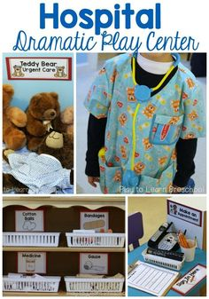 Hospital Dramatic Play Young children love to play doctor. We're going to set up a literacy-rich, beautifully organized HOSPITAL like this in our dramatic play area! Dramatic Play Themes, Dramatic Play Area, Dramatic Play Centers, Preschool Dramatic Play, Preschool Centers, Preschool Activities, Preschool Set Up, Preschool Books, Summer Activities