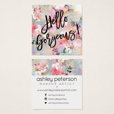 #makeupartist #businesscards - #Hello Gorgeous typography floral watercolor Square Business Card