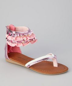 Loving this Pink Glitter Ruffle Sandal on #zulily! #zulilyfinds