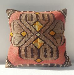 urban fabric 18x18 extra large pillow cover kilim pillow coral