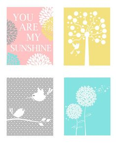 Nursery Quad - Set of Four Coordinating 8 x 10 Prints - Yellow, Pink Aqua and Gray - Mommy and Me, You are my Sunshine. $55.00, via Etsy.