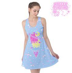 ✨ Cosmic Ice Cream Blue Sleeveless Skater Dress ✨ Everyday Cutie Sale ✨ Made To Order ✧ Fairy kei ✧ Decora kei ✧ Uchuu kei ✧ Harajuku Fashion