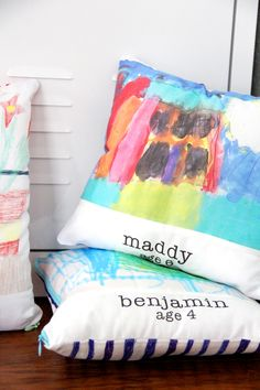 There's something just a bit more memorable about a handmade gift created special for someone. In this DIY tutorial by the Sewing Rabbit you'll learn how to turn kids' artwork into fabric and use the fabric to make pillows to give as a gift for the next holiday.