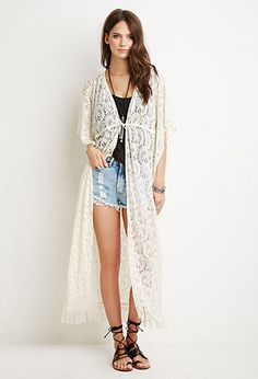 Floral-Embroidered Longline Cardigan | Forever 21 - 2000079652 ...
