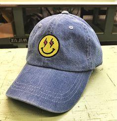 3e782be8c0016 Smiling Emoji Face DENIM Dad Hat Lighting Bolt Eyes J Balvin Fashion Caps