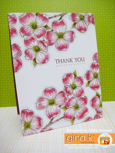 one layer dainty dogwood thank you card by Claire Brennan