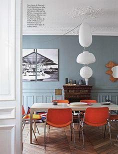 salle a manger chaises Giancarlo Piretti edition Castelli