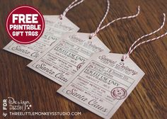 Free personalized Santa's Special Delivery Printable Gift Tags from ThreeLittleMonkeysStudio.com