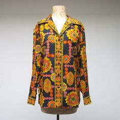 Vintage 1960s Blouse / 60s Bright Psychedelic by RanchQueenVintage, $55.00