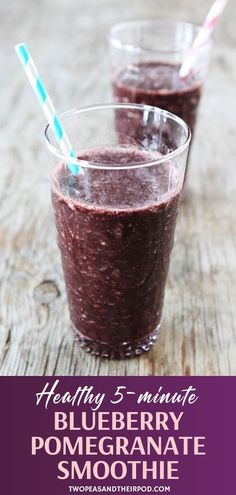 A favorite smoothie recipe you can make in 5 minutes! Blueberry Pomegranate Smoothie is easy to make. Simply mix 5 simple ingredients and blend away! Kids and adults will love a glass of this. Easy Healthy Smoothie Recipes, Fun Easy Recipes, Healthy Drinks, Healthy Meals, Yummy Recipes, Healthy Food, Cooking Recipes, Pomegranate Smoothie, Drink Recipes Nonalcoholic