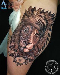 Mandala lion with leaf headdress vs lion in an indian headdress half face fade