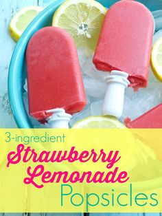 3 ingredient Strawberry Lemonade Popsicle recipe. Such an easy popsicle recipe and it's all natural ingredients--nothing fake here! This is the real deal and the kids love these for a healthy and light summer dessert.