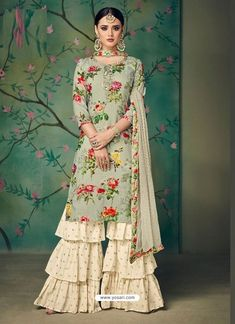Buy Kajri By kaara Designer party wear look Muslin Cotton digital print with heavy handwork collection single available at wholesale Rates Party Wear Indian Dresses, Pakistani Fashion Party Wear, Indian Fashion Dresses, Dress Indian Style, Pakistani Dress Design, Pakistani Dresses, Indian Outfits, Cotton Dress Indian, Bollywood Fashion
