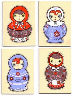 Four Russian Doll ACEOs by Marisa Bogg, via Flickr