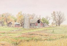 Jon Crane painted this farm scene in eastern South Dakota which reveals the favored colors of many artists, when Mother Nature softens her palette with the approaching autumn John Crane, Watercolor Paintings, Watercolors, South Dakota, Mother Nature, Scene, Autumn, Fine Art, House Styles