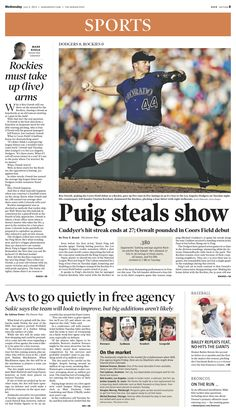 Wednesday, July 3, 2013 Denver Post sports cover.
