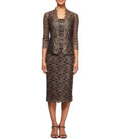 a388fee62d Shop for Alex Evenings Tea Length Lace Jacket Dress at Dillards.com.  189  Lace