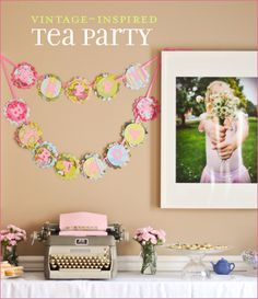 """Great ideas!   tea cups from marshalls and tj maxx  """"tea"""" is sprakling juice inside of mason jars lemon wedge and with ribbon wrapped around  vintage hankies for decor, tissue pom poms, cupcakes, fruit cabobs, mini sandwiches, cupcakes,  a vintage, set up a photo booth, made headbands as a craft, typewriter for decor"""