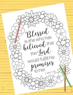 This beautiful coloring page is available as a PDF for easy printing. Get the file here:    Blessed is she PDF                 ...