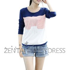 Fashion Womens Contrast Color Sweatshirt Long Sleeve T-shirt Blue