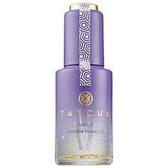 Gold Camellia Beauty Oil - Tatcha   Rich in antioxidants and essential fatty acids to deeply moisturize skin while the 24-karat gold flecks add a luminous glow. Camellia japonica seed oil and squalene quickly penetrate to hydrate and protect skin, rice and macadamia nut oils deliver antioxidant protection, and licorice root contains anti-redness benefits.