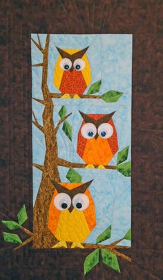 - Hooters - Foundation Paper Piecing Pattern - x 28 Quilt - This beautiful Foundation Paper Piecing pattern was designed by Eileen Bahring Sullivan and is a stunning quilt to piece. Owl Quilt Pattern, Paper Pieced Quilt Patterns, Baby Quilt Patterns, Applique Quilts, Owl Quilts, Bird Quilt, Animal Quilts, Hanging Quilts, Quilted Wall Hangings