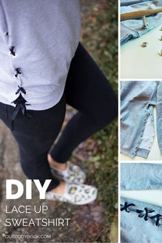 34 Trendy Ideas For Sweatshirt Upcycle Diy Lace Diy Lace Up Sweatshirt, Diy Lace Shirt, Diy Pullover, Sweatshirt Makeover, Sweatshirt Refashion, Diy Kleidung Upcycling, Shirt Alterations, Diy Clothes Refashion, Refashioned Clothes