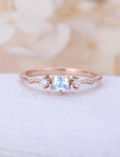 Moonstone engagement ring rose gold engagement ring vintage Diamond Cluster ring wedding Bridal Set Three stone Anniversary gift for women Description: - Classic style diamond ring - natural diamonds - comfortable band Moonstone size:5mm Natural diamond Weight - approx 0.08CT Shape - #diamondengagementringsvintage