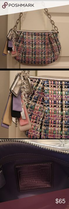 Coach Purse 👛 This is the cutest Coach purse that is great for dressing any outfit up! It has pink, purple, green, blue, and silver stitching making it look like a tweed pattern. The keychain comes with the purse and it has ribbons that match the purse stitching with a silver Coach brand keychain. Very good condition, literally worn once to a party! Coach Bags Mini Bags