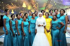 Source La Royal Studios Muslim Nigerian Bride In White Gown With Her Chief Bridesmaid Yellow And Bridesmaids Teal