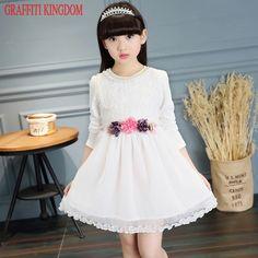 Girls lace boutique dress New Arrival 2017 princess dress elegant toddler  flower dresses teenage children clothing designer