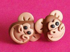 monkey stud earrings polymer clay fimo handmade